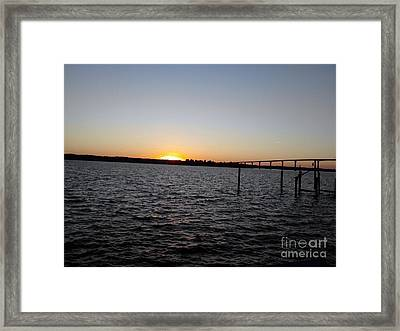 Sun Going Down Near Gov Thomas Johnson Bridge Framed Print