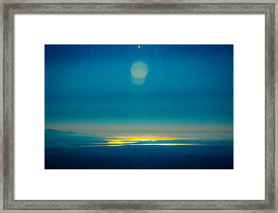 Sun Going Down On The Sound Framed Print