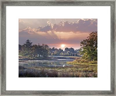 Sun Greets Autumn Lansdscape Framed Print
