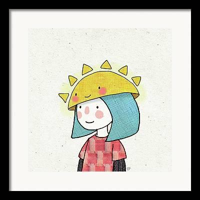 Sun Hat Drawings Framed Prints