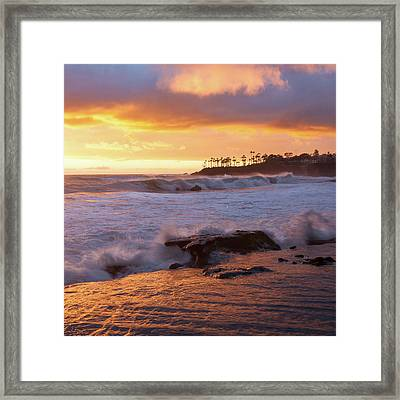 Framed Print featuring the photograph Sun Kissed Coast by Cliff Wassmann