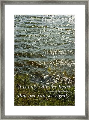 Sun Light Reflecting On Water With Inspirational Text Framed Print