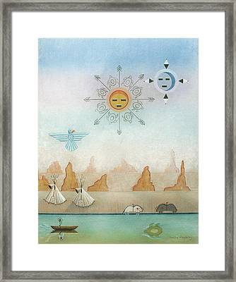 Sun Moon And Turtles Framed Print by Sally Appleby