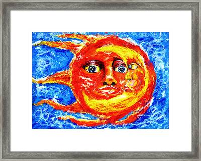 Framed Print featuring the painting Sun Moon by Shelley Bain