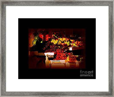 Sun On Fruit - Markets And Street Vendors Of New York City Framed Print by Miriam Danar