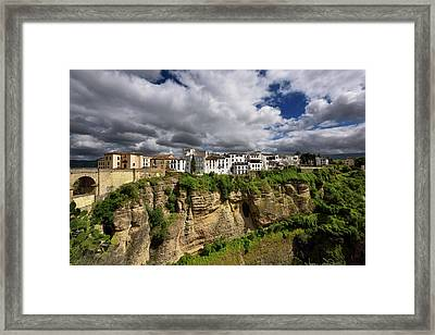 Sun On White Buildings And Orange Cliffs At El Tajo Gorge Ronda  Framed Print by Reimar Gaertner