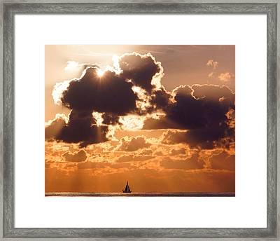 Sun Peek Sailboat Framed Print