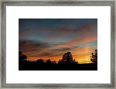 Sun Pillar Sunset Framed Print by Jason Coward