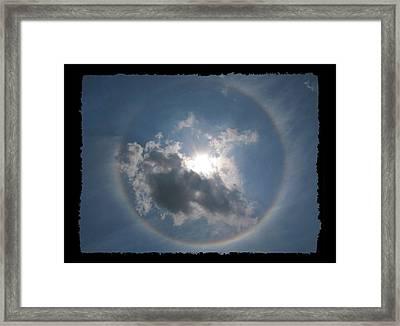 Sun Portal  A Rainbow Around The Sun With Black Border Framed Print by Adam Long