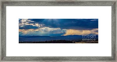 Sun Rays And Rain Framed Print by Dennis Wagner