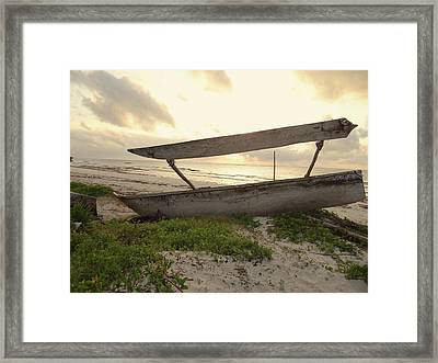 Sun Rays And Wooden Dhows Framed Print