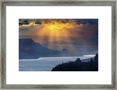 Sun Rays Over Columbia River Gorge During Sunrise Framed Print