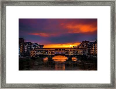Sun Rises Over The Ponte Vecchio Framed Print