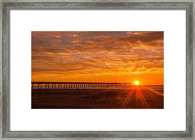 Sun Rising At Port Aransas Pier Framed Print