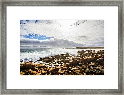 Sun Rising Over The Ocean Framed Print