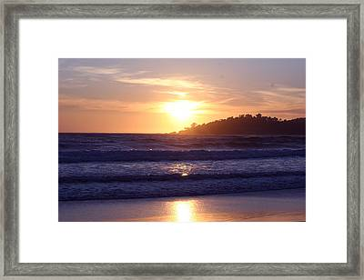 Sun Set In Carmel Framed Print by Ofelia  Arreola