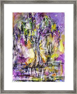 Framed Print featuring the painting Sun Sets Among The Cypress Trees by Ginette Callaway