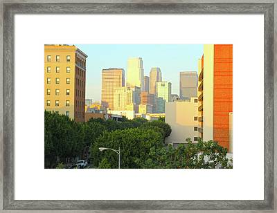 Sun Sets On Downtown Los Angeles Buildings #1 Framed Print