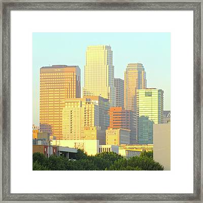 Sun Sets On Downtown Los Angeles Buildings #2 Framed Print