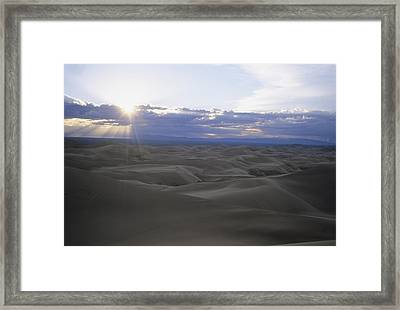 Sun Sets Over Miles Of Sand Dunes Framed Print by Taylor S. Kennedy