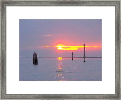 Sun Sets Over Venice II Framed Print by Viviana Puello Villa