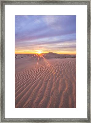 Framed Print featuring the photograph Sun Setting At The Dunes by Patricia Davidson
