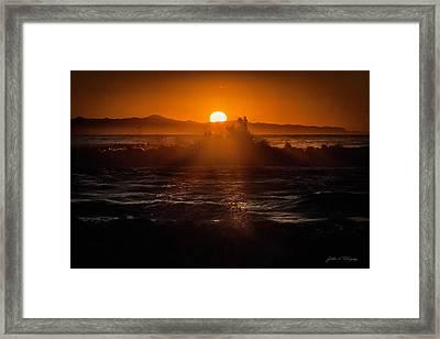 Framed Print featuring the photograph Sun Setting Behind Santa Cruz Island by John A Rodriguez