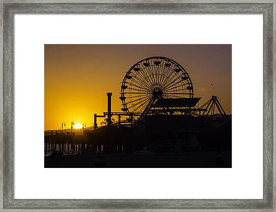 Sun Setting Beyond Ferris Wheel Framed Print by Garry Gay