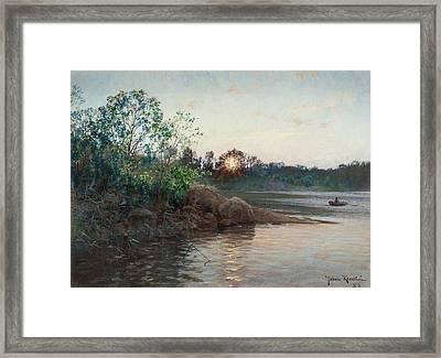 Sun Setting By The Lake Framed Print
