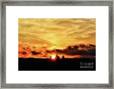 Sun Setting Down Behind Church Framed Print by Stephan Grixti