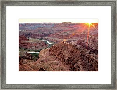 Framed Print featuring the photograph Sun Setting On Dead Horse Point State Park - Utah by Gregory Ballos