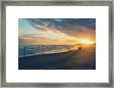 Sun Setting On Galveston Beach Framed Print by Ray Devlin