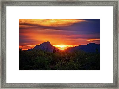 Framed Print featuring the photograph Sun Setting On Red Mountain  by Saija Lehtonen