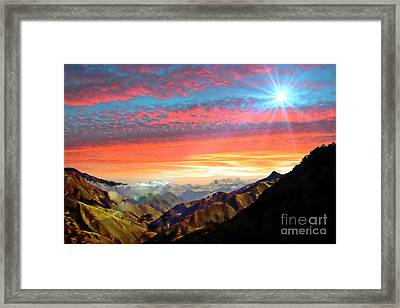 Sun Setting On The Cajas Range Of The Andes Framed Print
