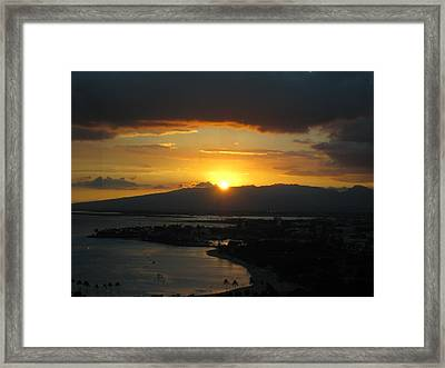 Sun Setting Over Honolulu Framed Print by Ashley Butler