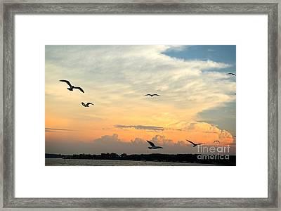 Sun Setting Over The Lake   Framed Print by Yumi Johnson