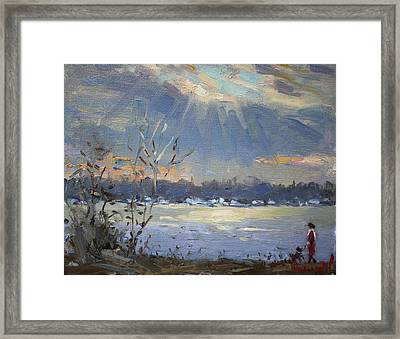 Sun Setting Over The Niagara River Framed Print by Ylli Haruni