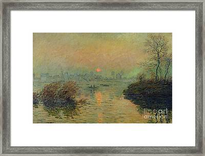 Sun Setting Over The Seine At Lavacourt Framed Print by Claude Monet