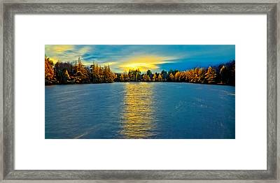 Sun Setting Over Woodcraft Camp Framed Print by David Patterson