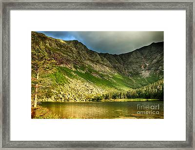 Sun Shining On Chimney Pond  Framed Print