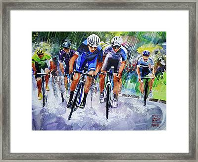 Sun Shower Sprint Framed Print by Shirley Peters