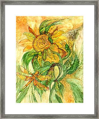 Sun Spirits - Sunflower And Dragonfly Framed Print