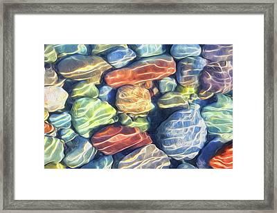 Sun Streaked River Rocks Framed Print