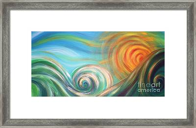 Sun Surf Sky Framed Print by Reina Cottier