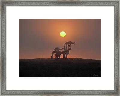 Sun Up The Iron Horse Art Framed Print by Reid Callaway