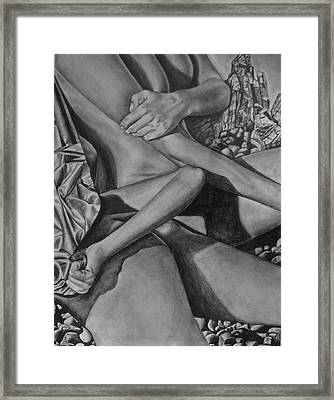Framed Print featuring the drawing Sunbathing by Lori Miller