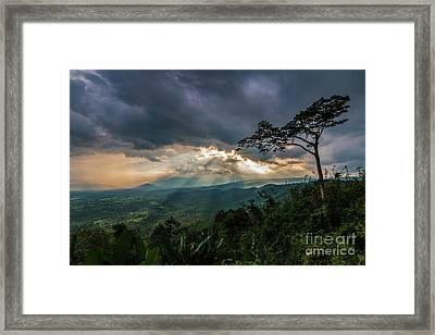Framed Print featuring the photograph Sunbeam Befor Rainny by Tosporn Preede