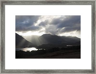 Sunbeams In Glen Affric Framed Print by Sue Arber