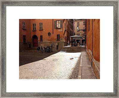 Sunbeams On A Quiet Street Framed Print by Rae Tucker