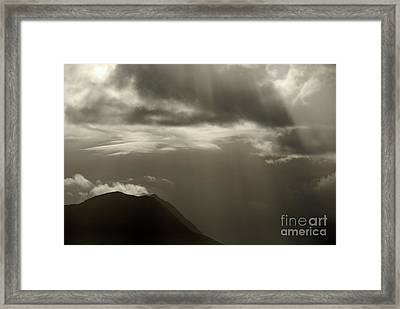 Sunbeams On Mountains By Cloudy Day Framed Print by Sami Sarkis